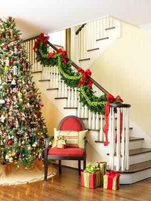 Decoração de Natal em Escadas