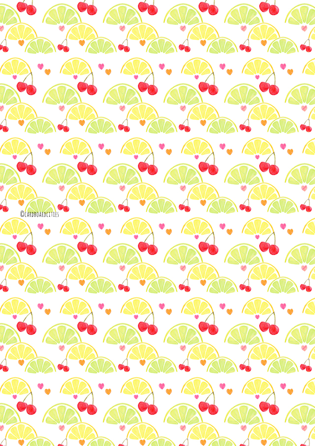 lemon, lime and cherry and heart pattern made from watercolour paintings