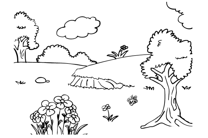 Trees and flowers scattered place on the ground crayon