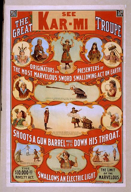 circus, classic posters, free download, graphic design, magic, movies, retro prints, theater, vintage, vintage posters, The Great Victorina Troupe Originators and Presenters of the Most Marvelous Sword Swallowing Act on Earth. - Vintage Circus Poster
