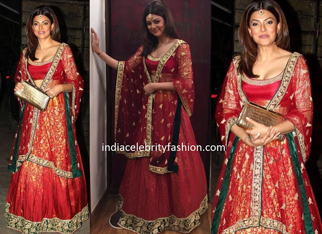 Sushmita Sen in Red Party Lehenga