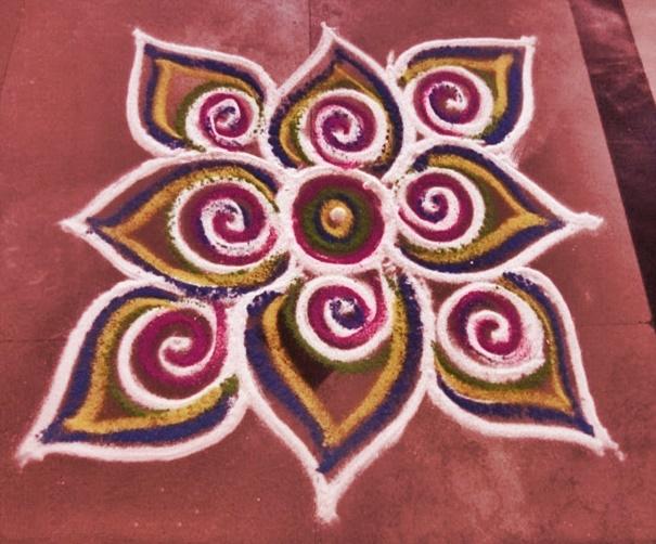 Latest rangoli design 2015 for Door rangoli design images