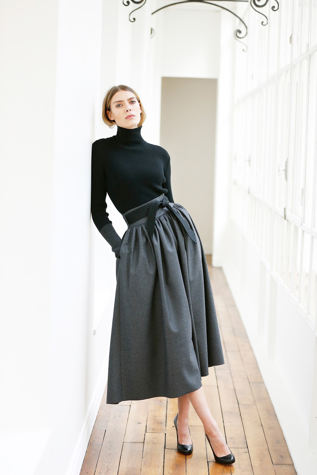 transitional style inspiration from the catwalk / how to wear midi skirt in autumn / Martin Grand / via fashionedbylove.co.uk / british fashion & style blog