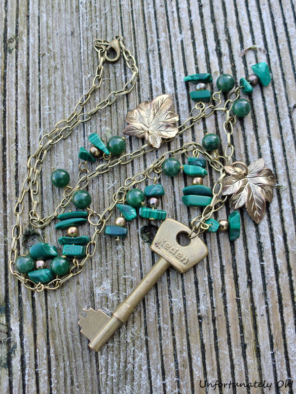 malachite key necklace