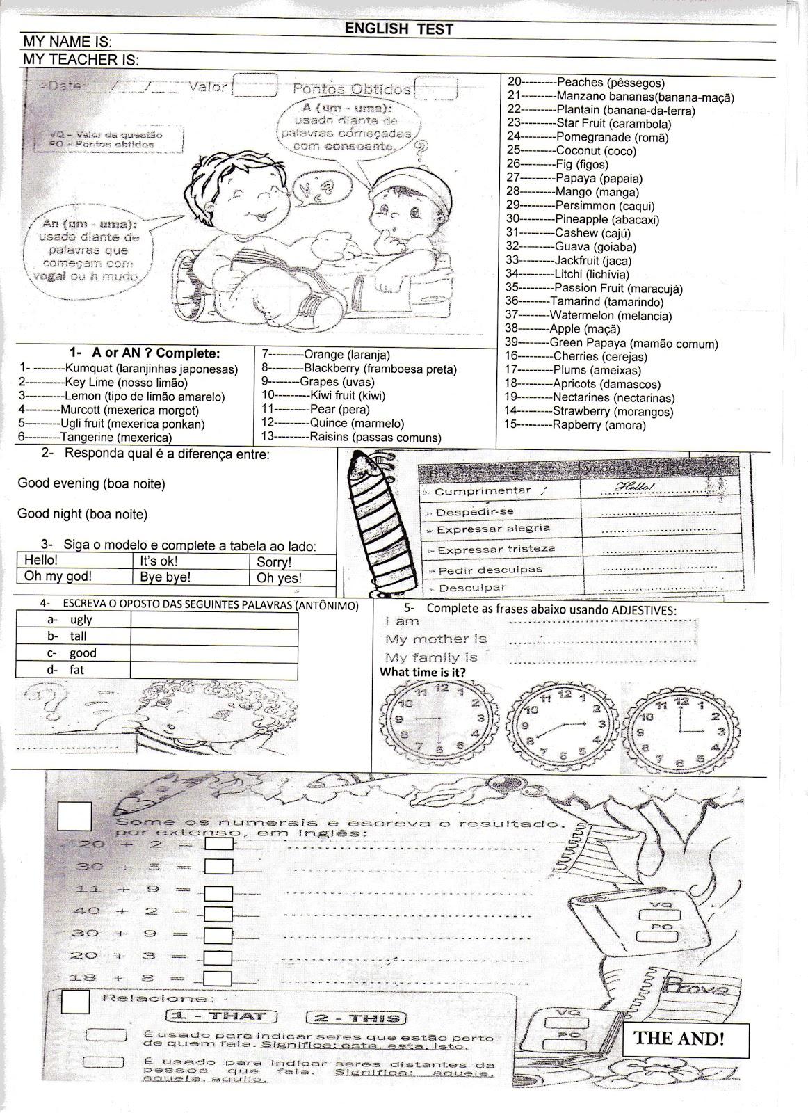 INGL  S 2 Atividades De Ingl  S Ensino Fundamental