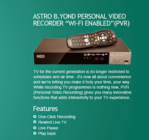 The official website's info on the Astro B.Yond Personal Video Recorder Wi-Fi (PVR)