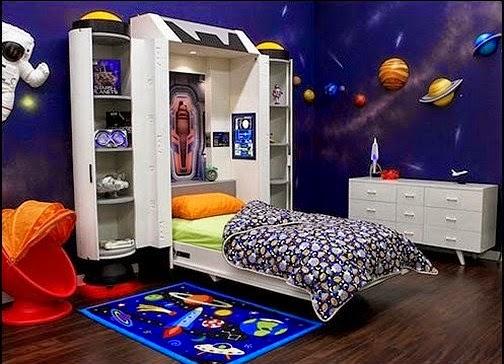 Dormitorios para ni os tema espacio ideas para decorar - Habitaciones pintadas para ninos ...