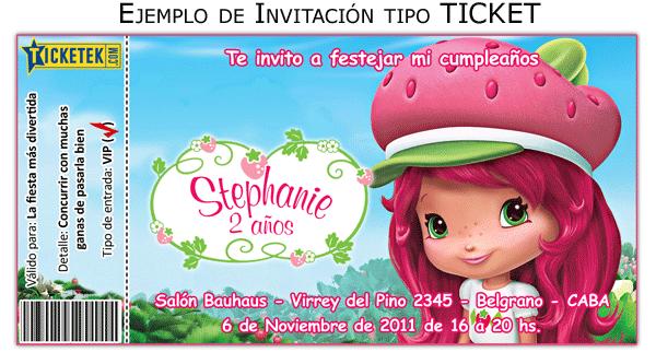 Invitaciones Para Plea  Os Tipo Ticket Con Tus Personajes Favoritos