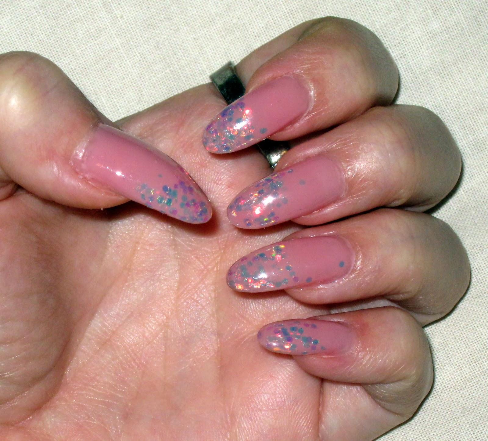 stiletto nails, pink stiletto nails, sparkly stiletto nails,