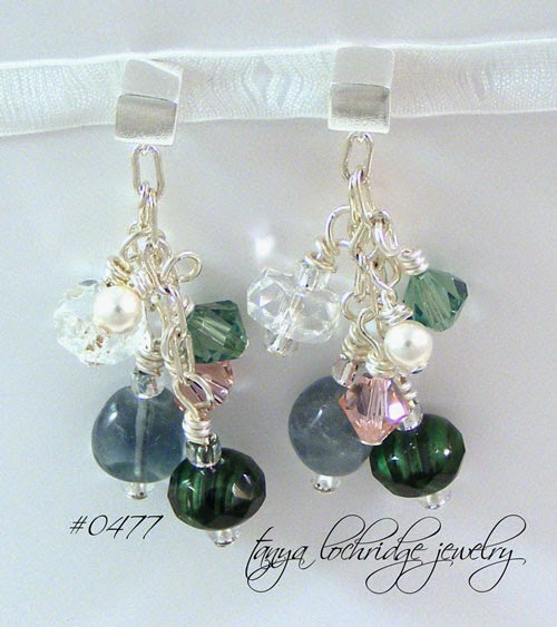 Fluorite Gemstone & Swarovski Crystal Sterling Silver Cube Earrings