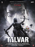 Irrfan Khan and blindfold wearing Lady Justice (Justitia) with sword and balance in black and white poster of Bollywood movie Talvar