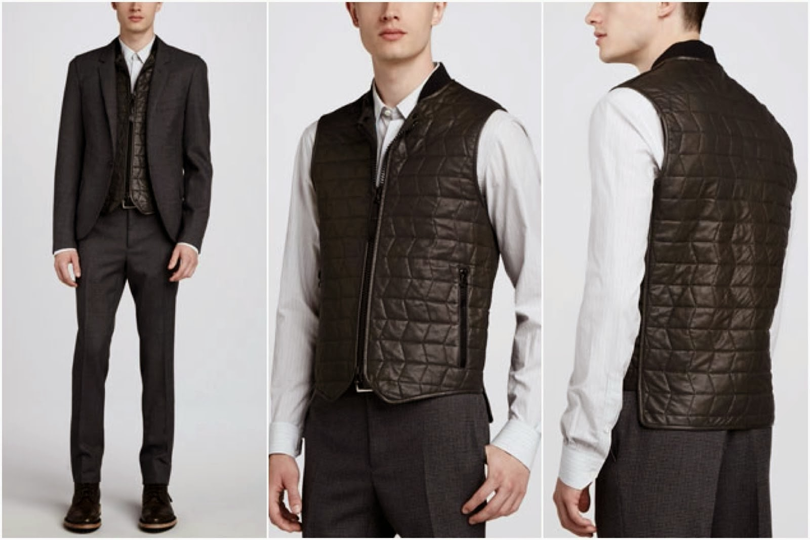 Orlando Bloom's Lanvin quilted leather vest - New York Street Style