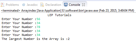 Find the Index of largest Number in Array in Java