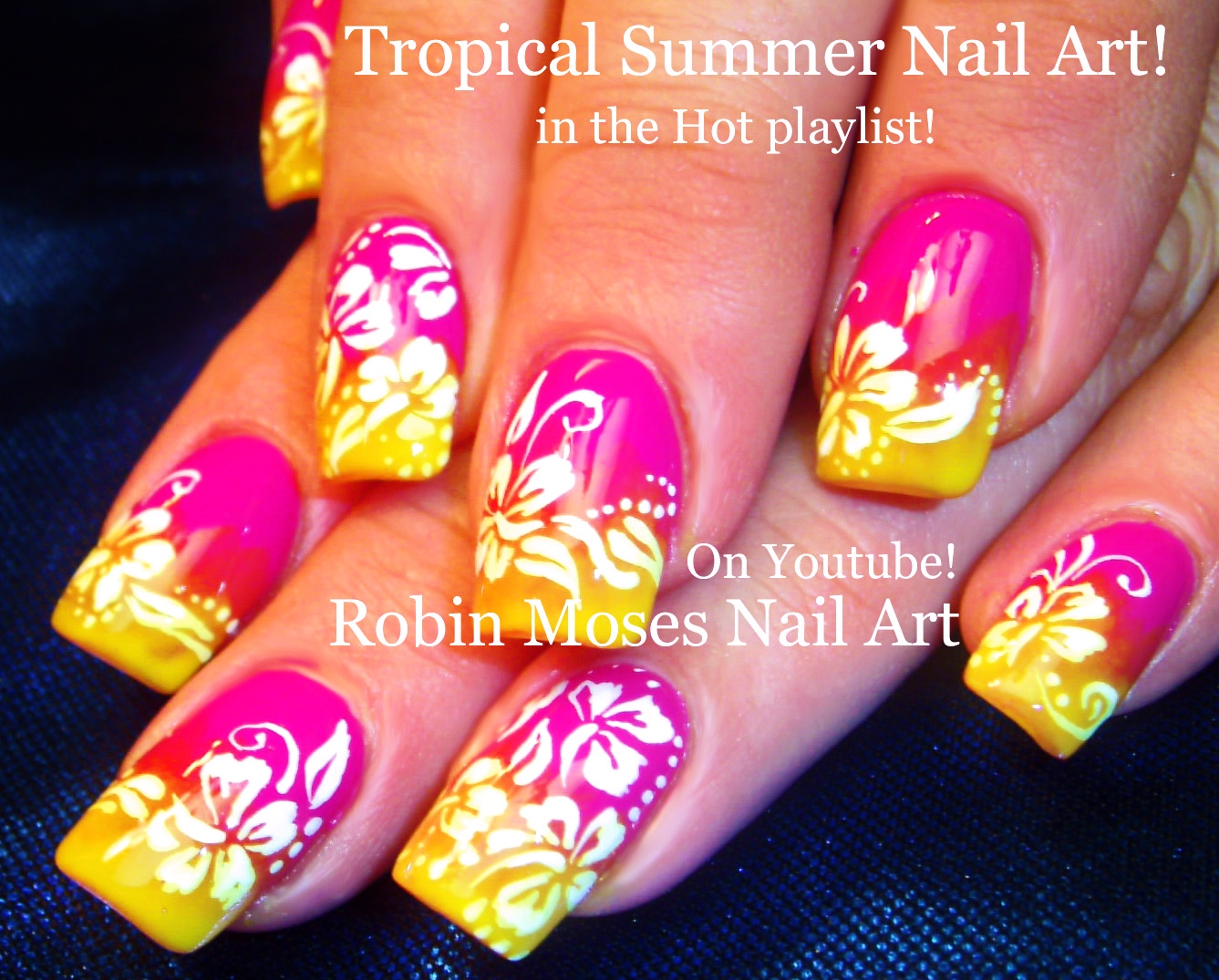 Robin moses nail art summer color fun neon pink and yellow ombre summer color fun neon pink and yellow ombre with white hibiscus prinsesfo Gallery