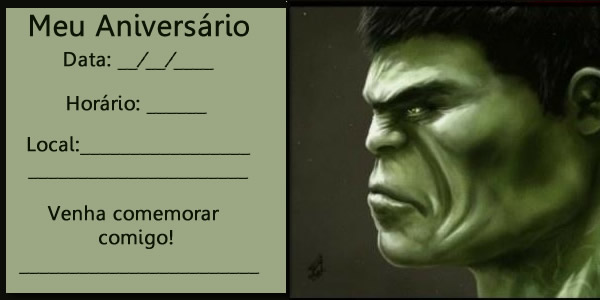 Convite De Aniversário Infantil Do Hulk Aniversário De Criança