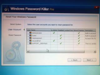 Reset windows 7 password using password killer