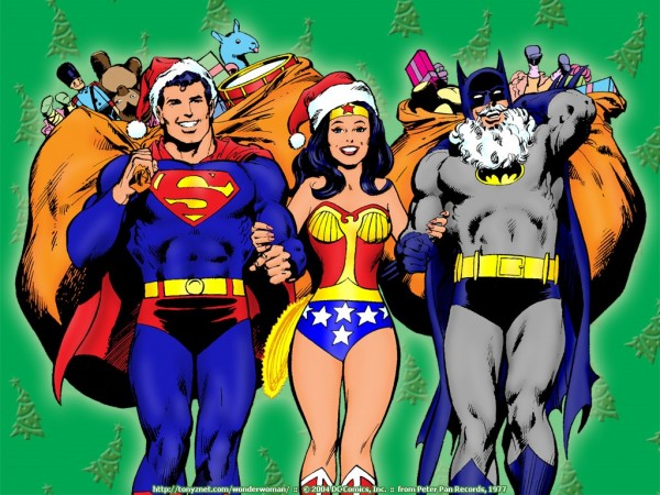 Merry Christmas Picture of Superman, Wonder Woman, and Batman