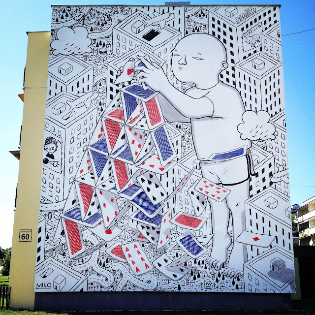 While he's usually painting in Italy, Millo is currently in Poland where he just finished a brand new piece somewhere on the streets of Bialystok.