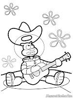 Gambar Sandy Bermain Gitar Untuk Diwarnai