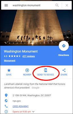Google Maps Send to Device - www.OneCoolTip.com
