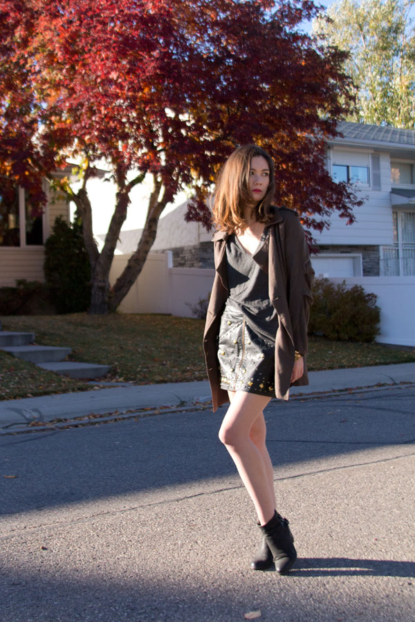 studded skirt, leather skirt, sam edelman lucca, nasty gal, fall fashion, personal style, Calgary fashion