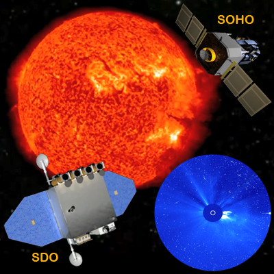 Sun Flare, SDO or Solar Dynamics Observatory, the SOHO or Solar Heliospheric Observatory and a Coronography showing the solar flares as they extend into space. NASA 2011.