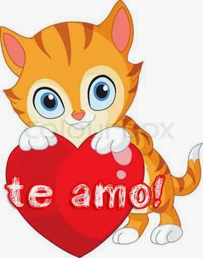 gato con un corazon de amor con frase te amo