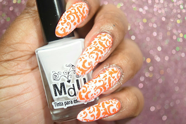 Stamping Over Neon Using Mundo De Unas White