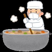 大きな鍋で料理をする人のイラスト