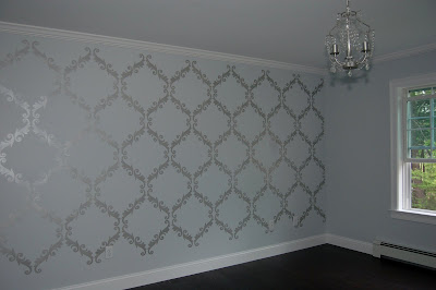 Trellis Pattern Stenciled Wall with Martha Stewart Metallic Paint