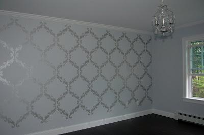 Trellis Pattern Stenciled Wall with Martha Stewart Metallic Paint