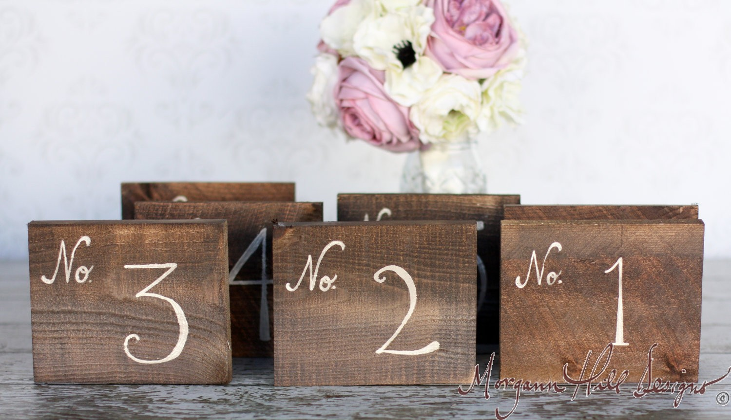 Morgann hill designs rustic table numbers barn wood for Table numbers