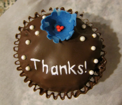 Teacher and Staff Thank You Cupcake - Blue Flower Only