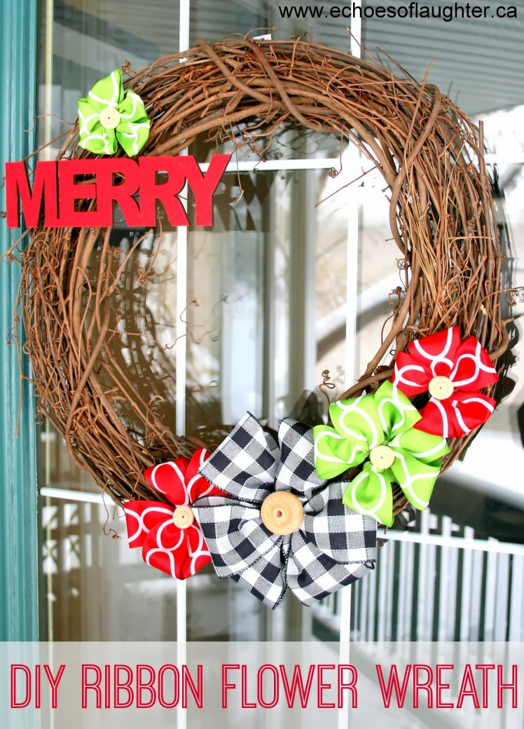DIY Ribbon Flower Wreath