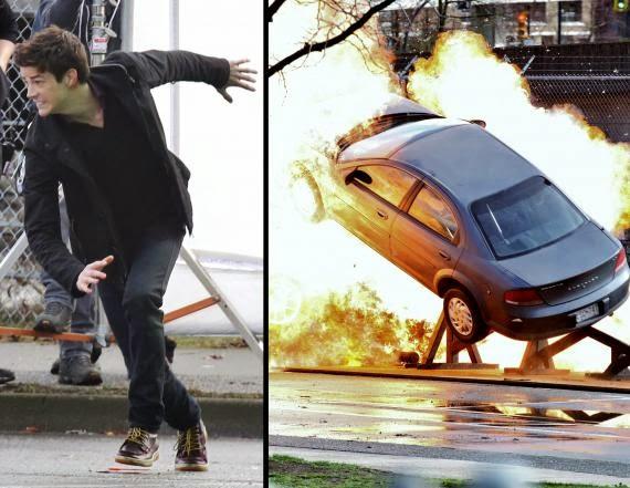 Fotografías de acción de Grant Gustin en el rodaje de The Flash