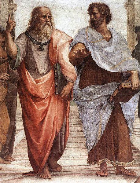 Platón y Aristóteles, por Raffaello Sanzio (detalle de La escuela de Atenas, 1509).