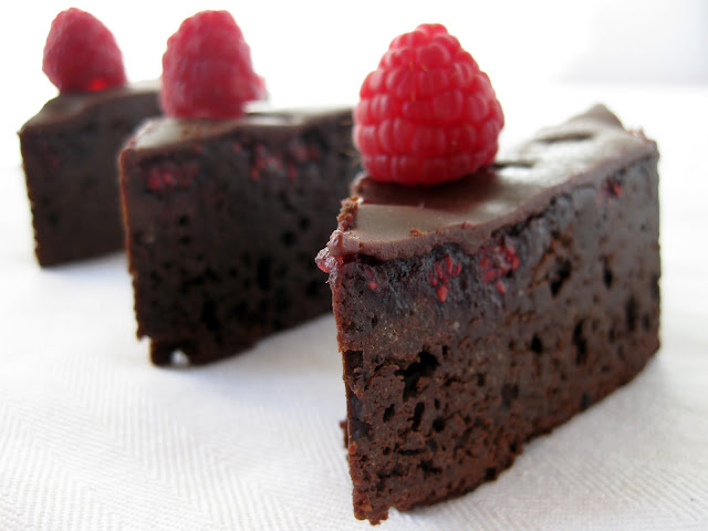 closeup of homemade brownies (raspberry brownies) in a row