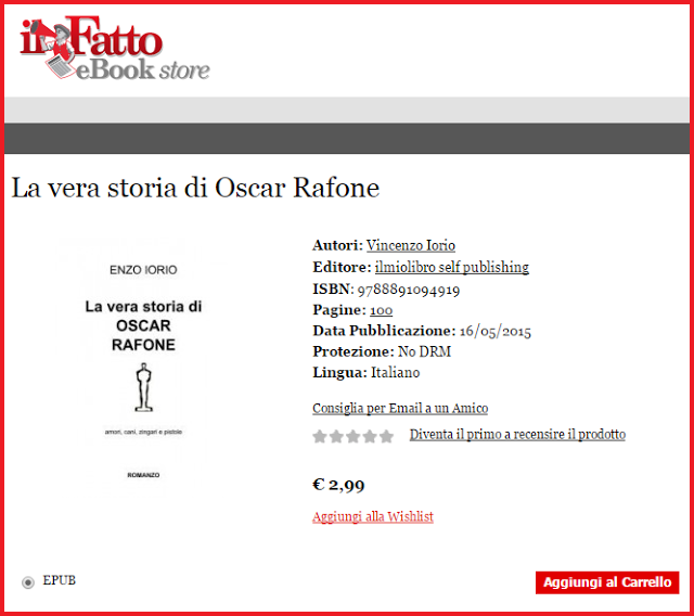 """""""La vera storia di Oscar Rafone"""", romanzo di Enzo Iorio."""