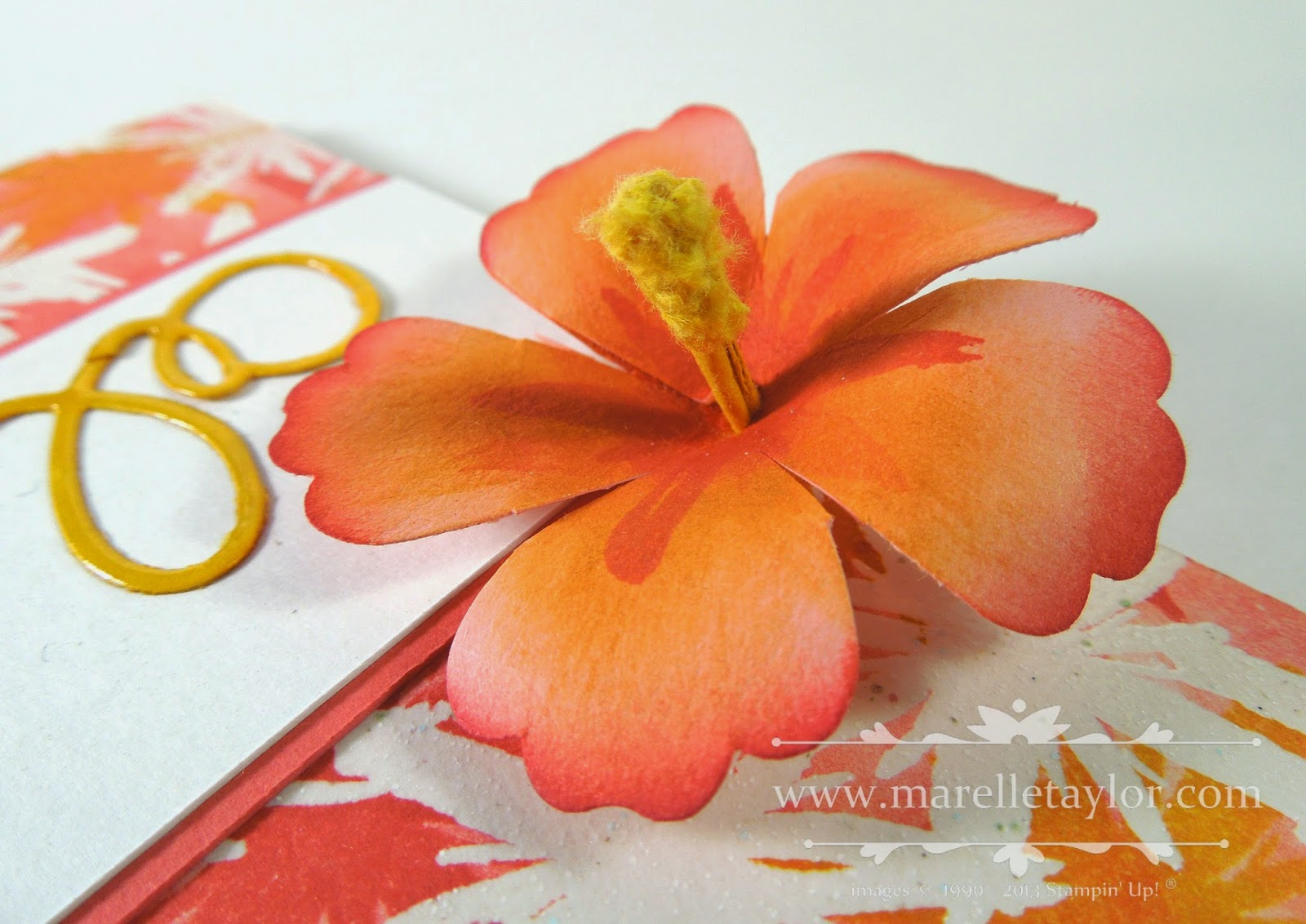 Marelle taylor stampin up demonstrator sydney australia hawaii i used the blossom punch to punch a flower from crisp cantaloupe cardstock and snipped down each petal to separate them a bit more and then overlapped two izmirmasajfo