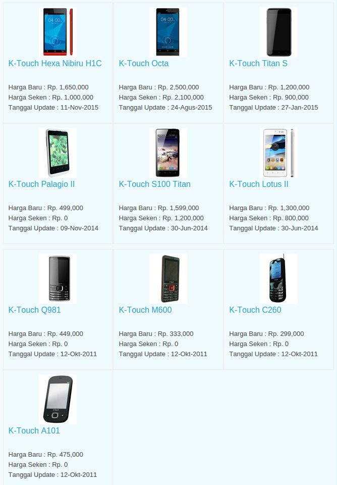 Daftar Harga Hp K-Touch Desember 2015
