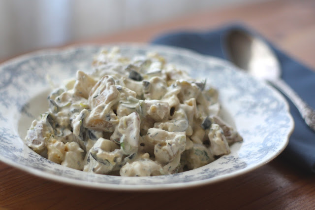 Garlic and Thyme Potato Salad with Leeks recipe by Barefeet In The Kitchen