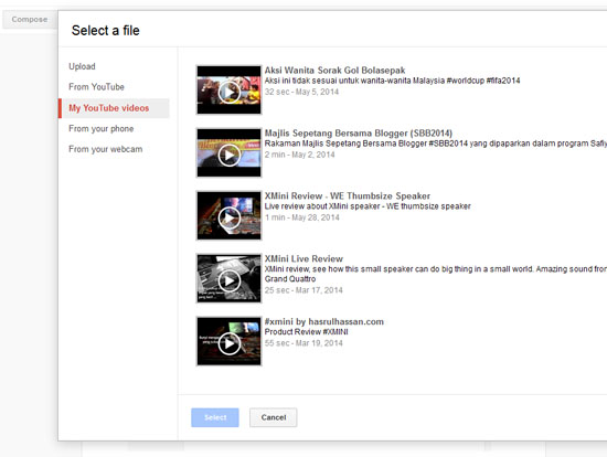 Masukkan video dari akaun YouTube atau Channel YouTube