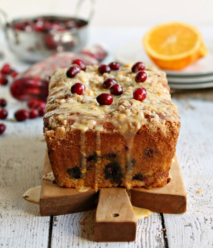 Glazed Orange Cranberry Crumb Loaf