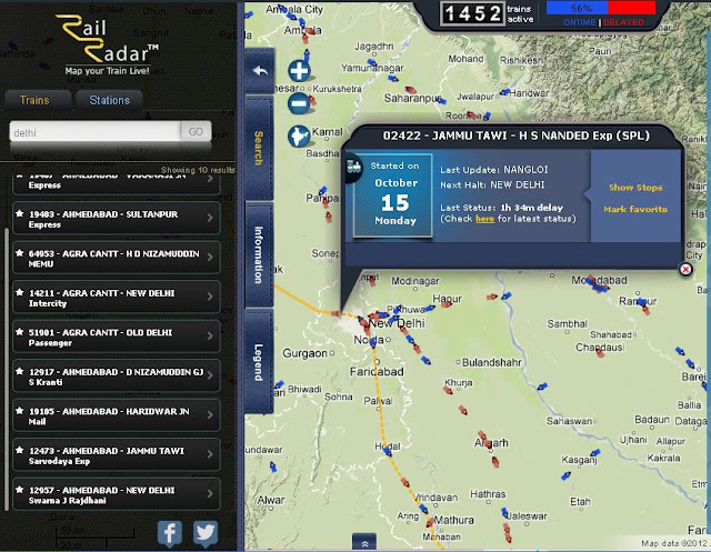 Screenshot of Rail Radar with left search panel