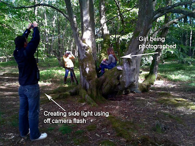 Professional photographers creating side light using off camera flash, whilst taking a photo of a girl in a tree