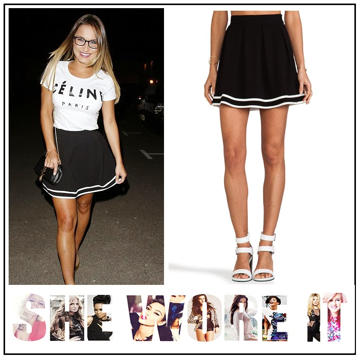 The Only Way Is Essex's Sam Faiers Mink Pink at ASOS Navy Blue Cheerleader Frill Skirt with White Stripe Detail,