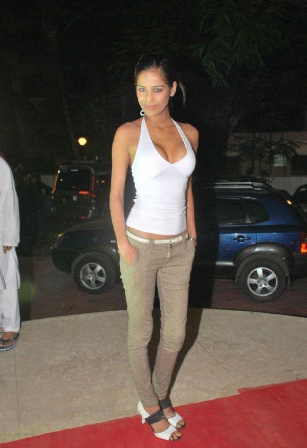 poonam pandey white dress image
