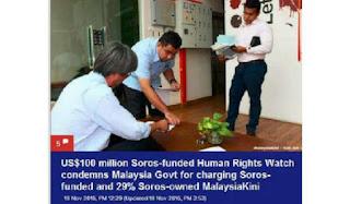 HRW YANG DIBIAYAI SOROS BIDAS PENDAKWAAN TERHADAP MALAYSIAKINI YANG 29% DIMILIKI OLEH SOROS