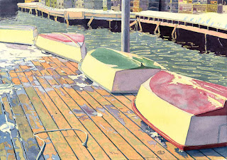 "South Bristol Coop - Dinghies On Float - Watercolor - 14"" x 20"""