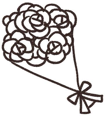白いバラのブーケのイラスト(結婚式)